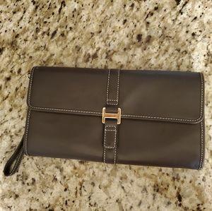 Talbots Dark Brown Leather Clutch/Wristlet.